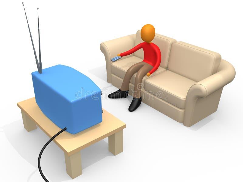 Televisão de observação da pessoa ilustração do vetor