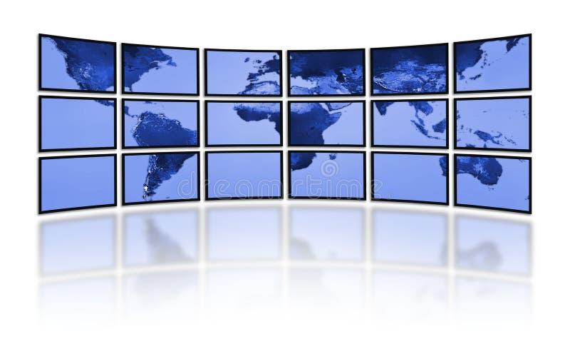Televisão do mundo de Digitas. Painéis do filme da tevê ilustração stock