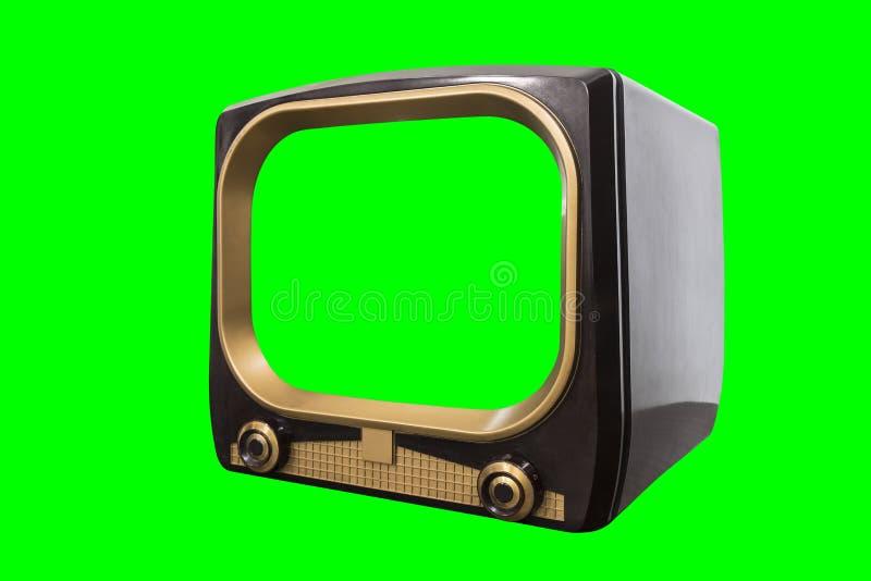 Televisão dos anos 50 do vintage isolada com tela e fundo do croma imagens de stock royalty free