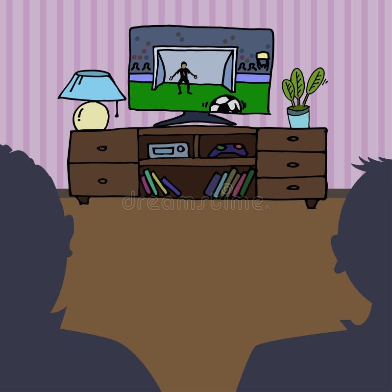 Televisão, futebol de observação da tevê, fósforo de futebol ilustração stock