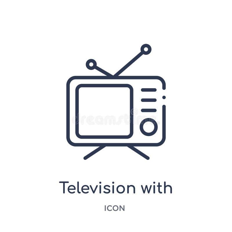Televisão linear com ícone da antena da coleção do esboço do cinema Linha fina televisão com vetor da antena isolada no branco ilustração stock