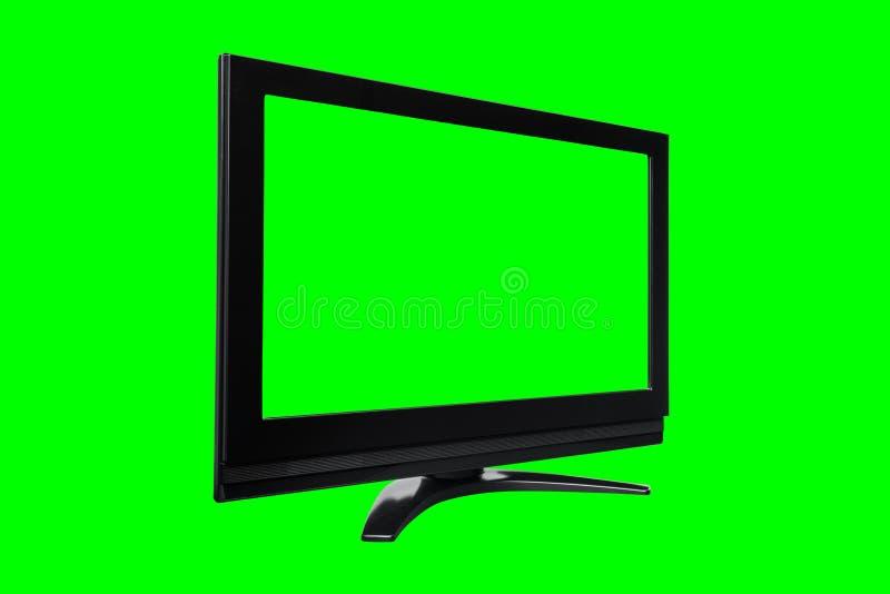 Televisão moderna preta isolada com a tela e fundo verdes do croma foto de stock royalty free