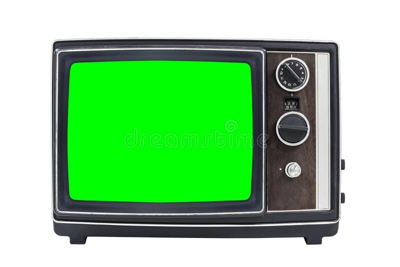 Televisão portátil do vintage pequeno com a tela do verde do croma fotografia de stock royalty free