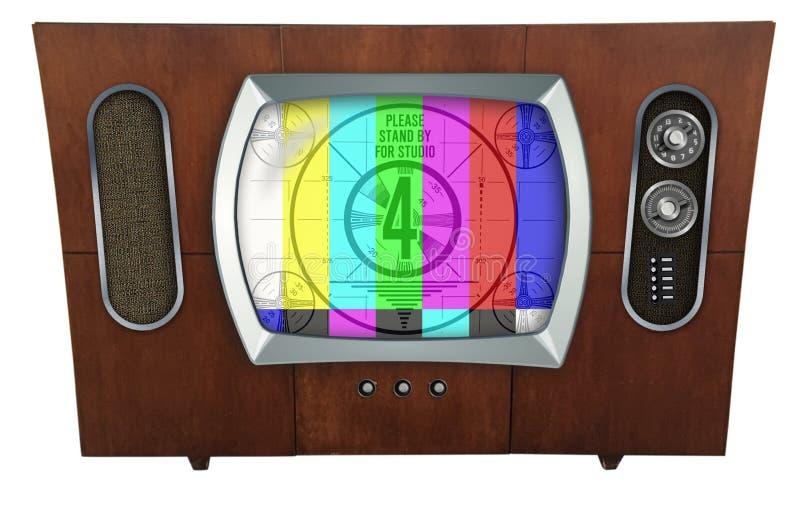 Televisão retro da tevê no armário de madeira moderno de Meados de-século ilustração royalty free