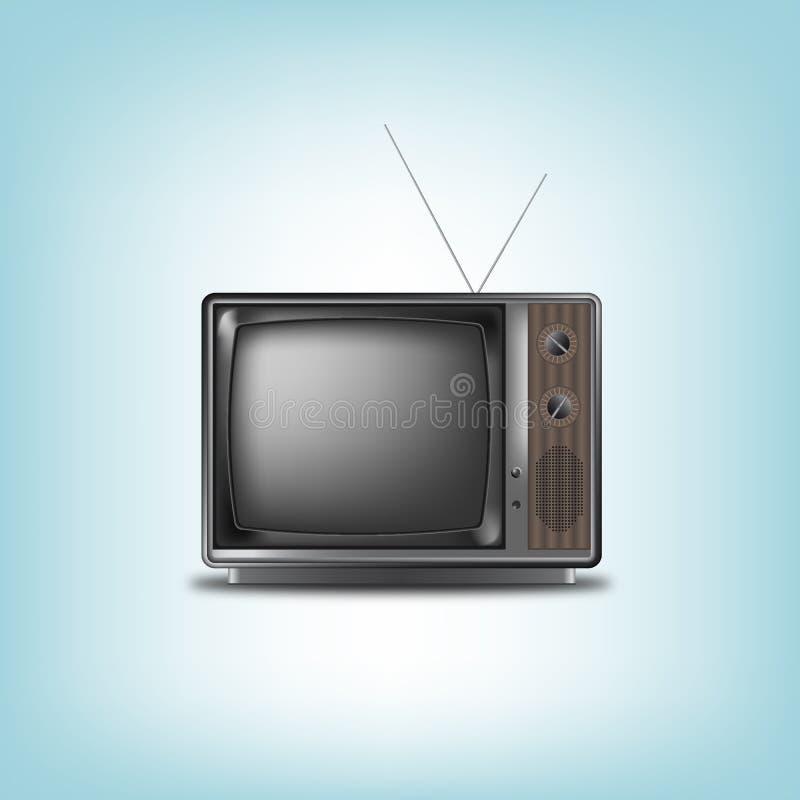 Televisão retro velha em um fundo azul ilustração stock