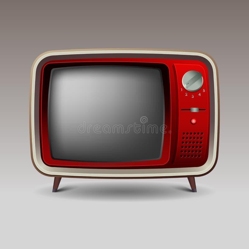 Televisão retro vermelha velha ilustração do vetor