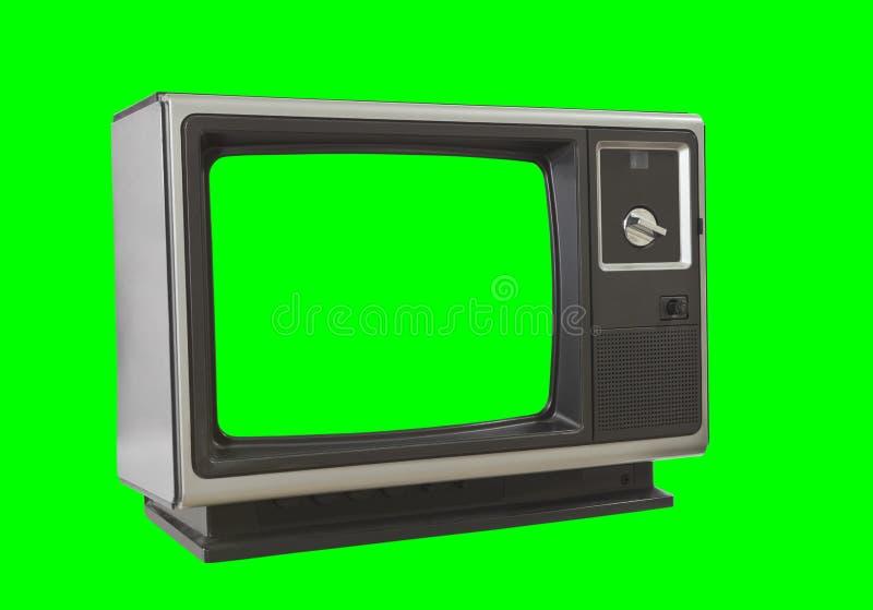Televisão vazia do vintage isolada com a tela e fundo verdes do croma fotografia de stock royalty free