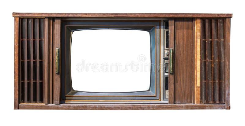 Televisión antigua de la caja de madera con el aislante cortado de la pantalla del marco en blanco con la trayectoria de recortes fotos de archivo libres de regalías
