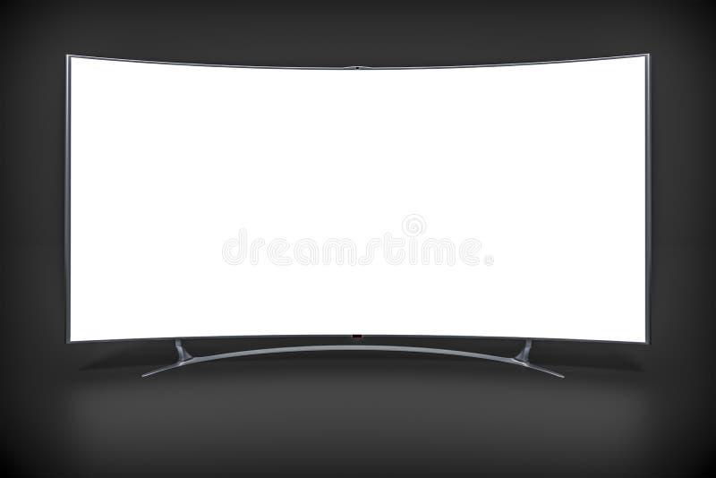 Televisión con pantalla grande curvada stock de ilustración