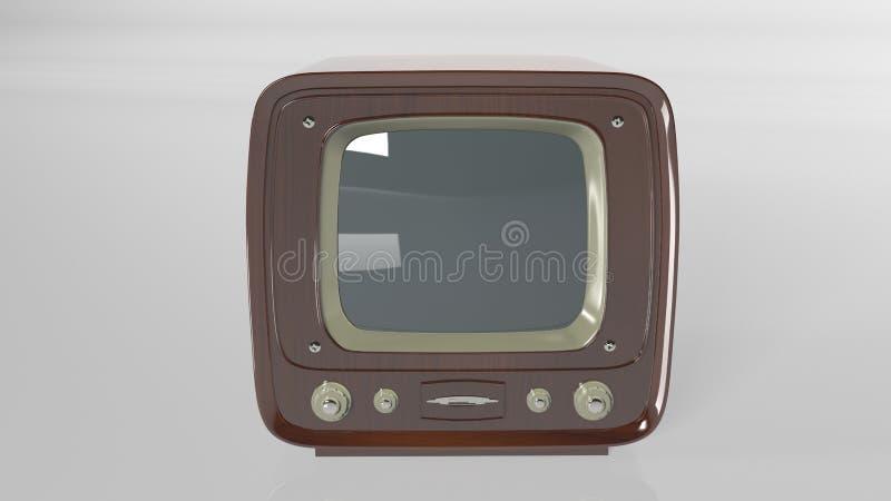 Televisión del vintage, aparato de TV retro en la vista delantera blanca, imagen de archivo libre de regalías