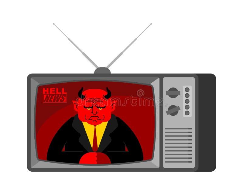 Televisión vieja de las noticias TV del infierno Periodista de difusión Devi de Satanás stock de ilustración