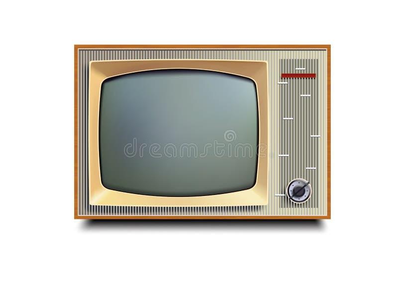 Televisión vieja retra del vintage en el fondo blanco ilustración del vector