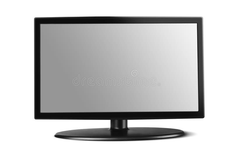 Televisie die op een witte achtergrond wordt geïsoleerd stock foto's