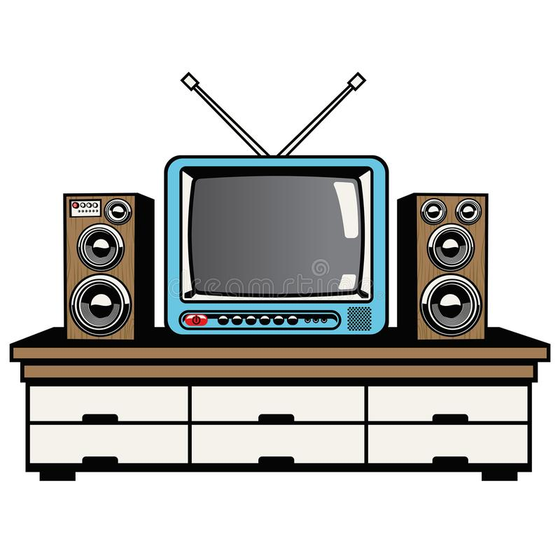 Televisie- en audiosysteem stock illustratie