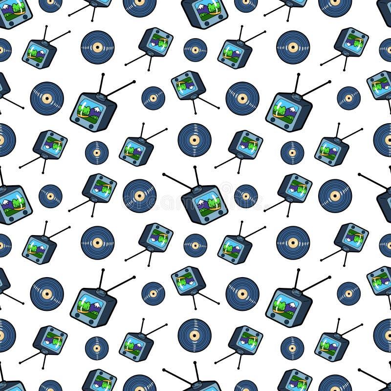 Televisie en Vinyl Naadloos Patroon Achtergrond in retro stijl stock illustratie