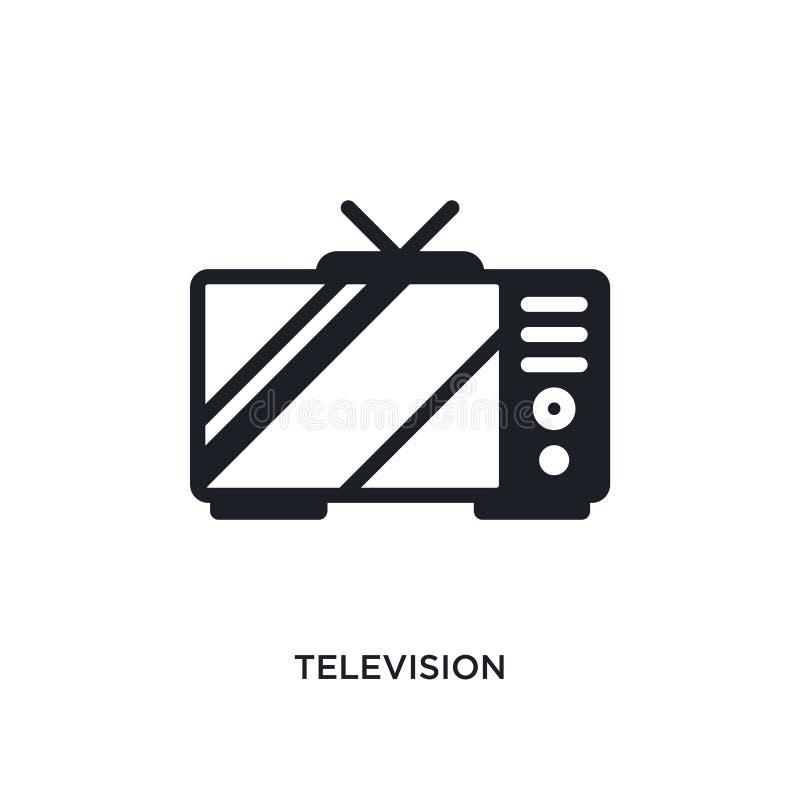televisie geïsoleerd pictogram eenvoudige elementenillustratie van de elektronische pictogrammen van het apparatenconcept het tek vector illustratie