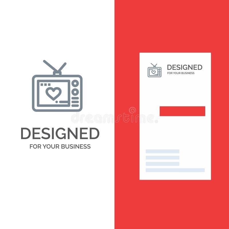 Televisie, Liefde, Valentine, Film Grey Logo Design en Visitekaartjemalplaatje stock illustratie