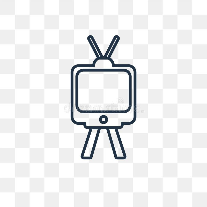 Televisie met antenne vectordiepictogram op transparante rug wordt geïsoleerd stock illustratie