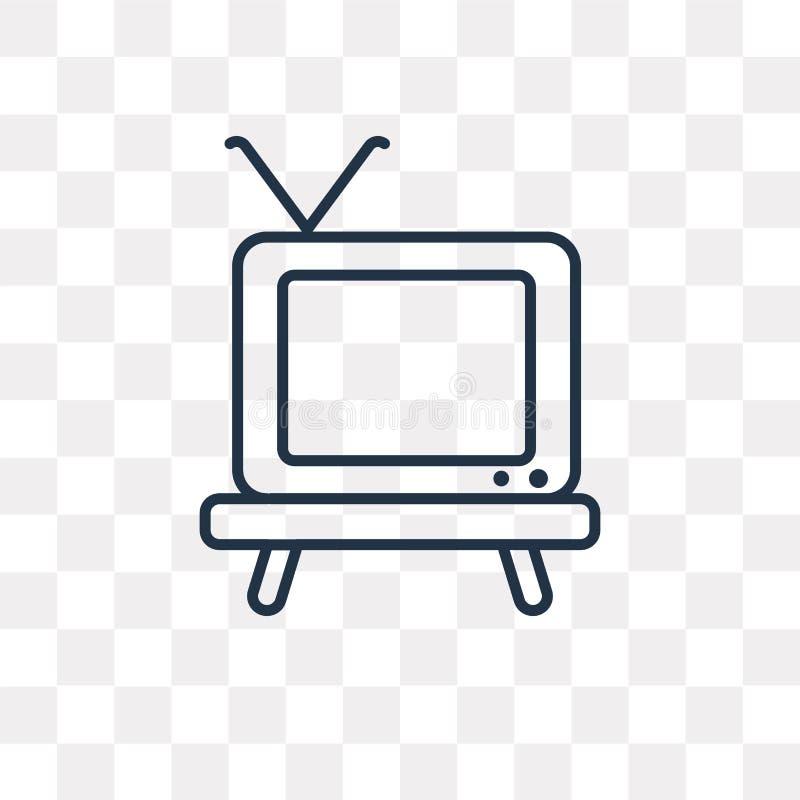 Televisie vectordiepictogram op transparante achtergrond, linea wordt geïsoleerd vector illustratie