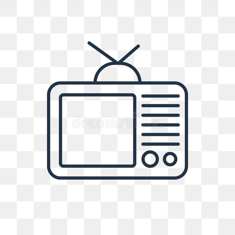 Televisie vectordiepictogram op transparante achtergrond, linea wordt geïsoleerd stock illustratie