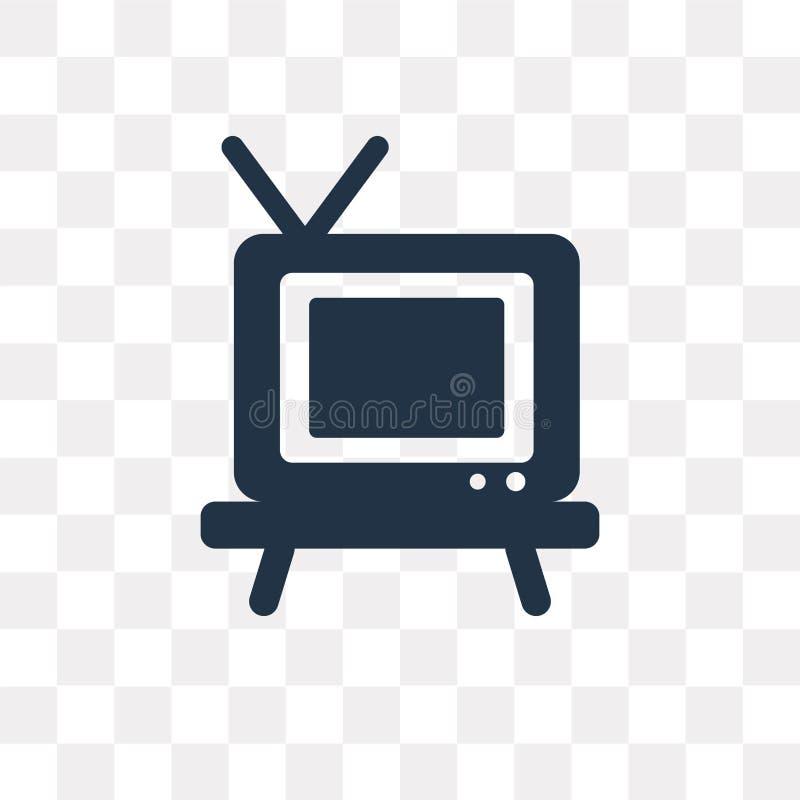Televisie vectordiepictogram op transparante achtergrond, Telev wordt geïsoleerd stock illustratie
