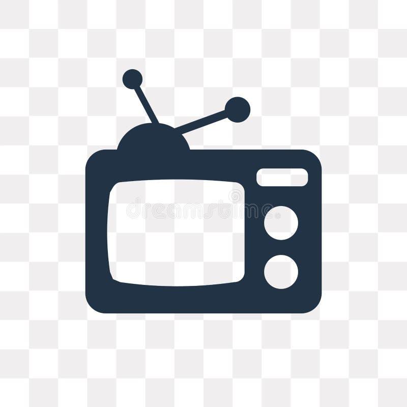 Televisie vectordiepictogram op transparante achtergrond, Telev wordt geïsoleerd royalty-vrije illustratie
