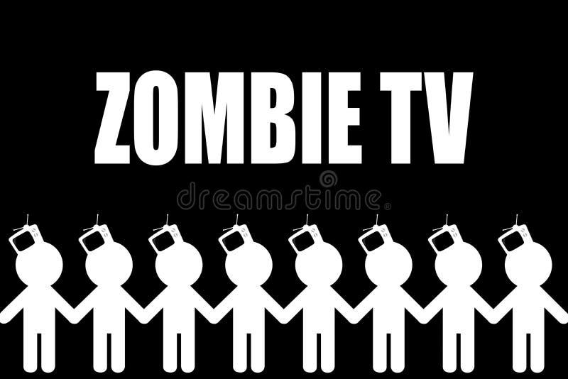 televisie Zombiing van mensen Zombietv royalty-vrije illustratie