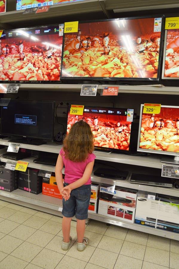 Televisieopslag stock afbeelding