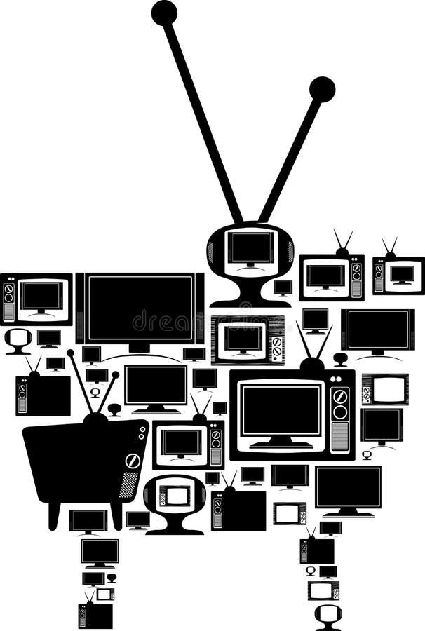 Televisietoestellen die aan vorm één reus worden geïllustreerdn vector illustratie