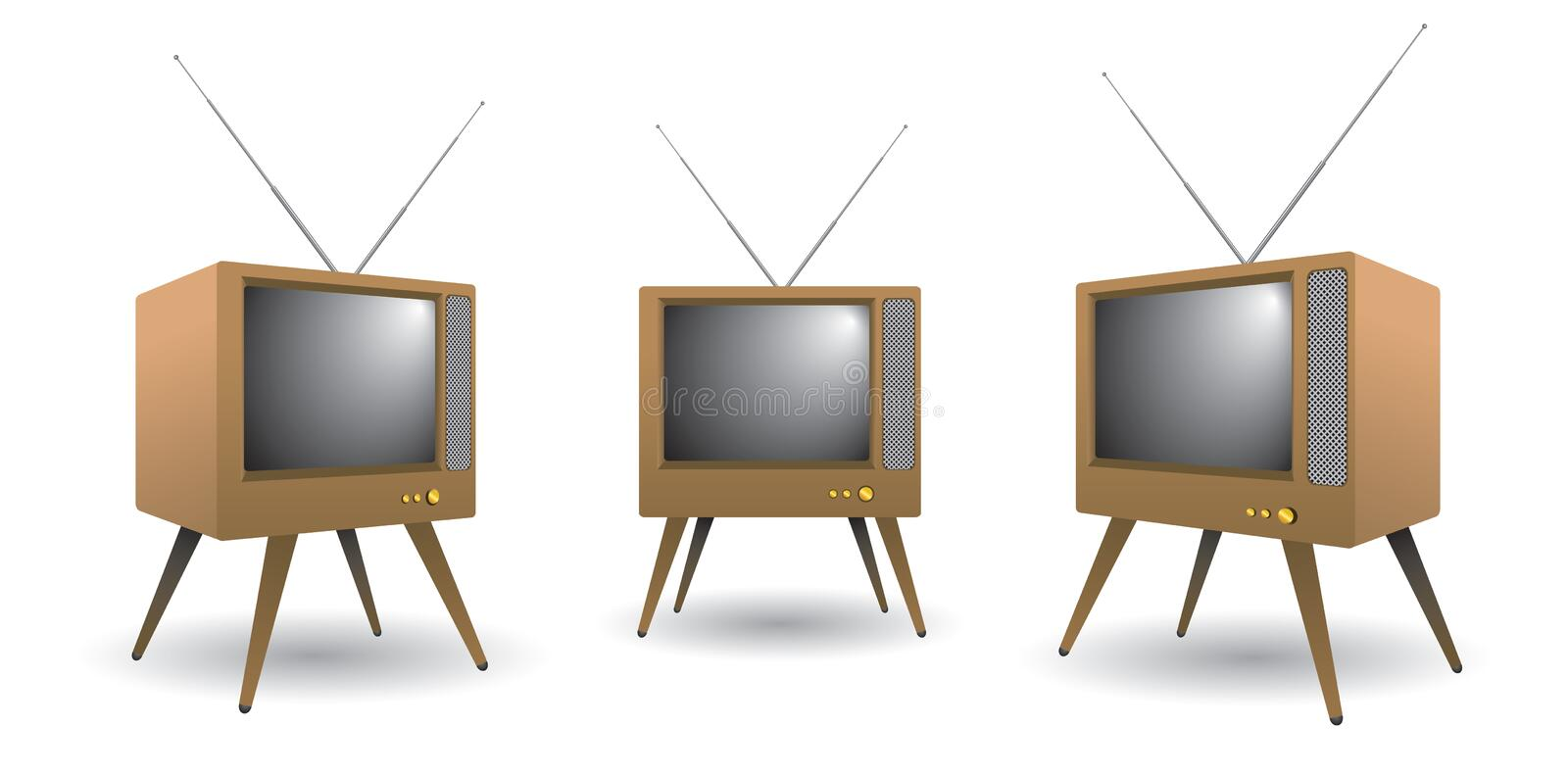 Download Television stock vector. Image of wooden, style, knowledge - 1654260