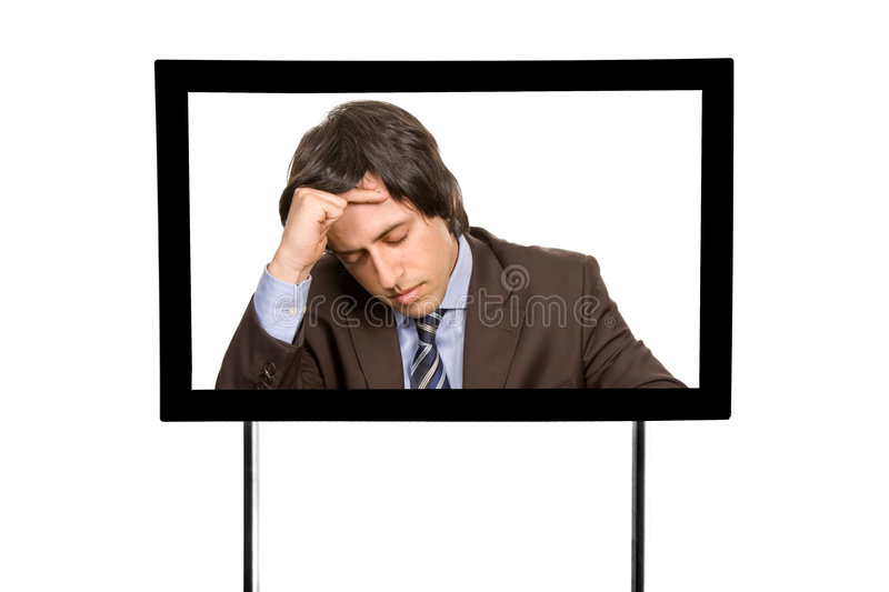 Television. Young man portrait in a modern television, isolated stock photos