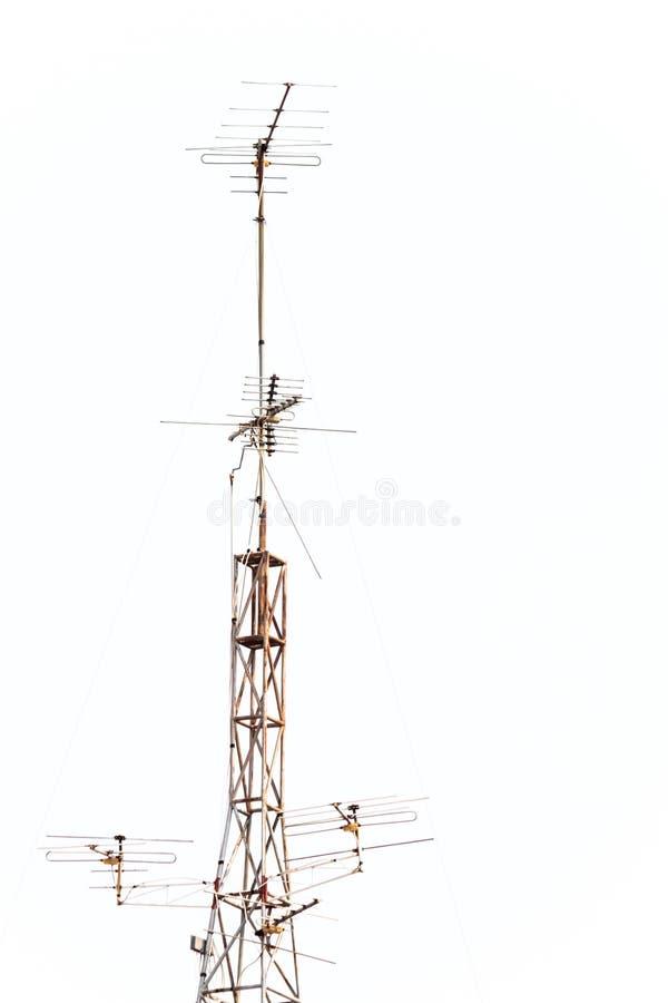 Television antenna. On white background royalty free stock image