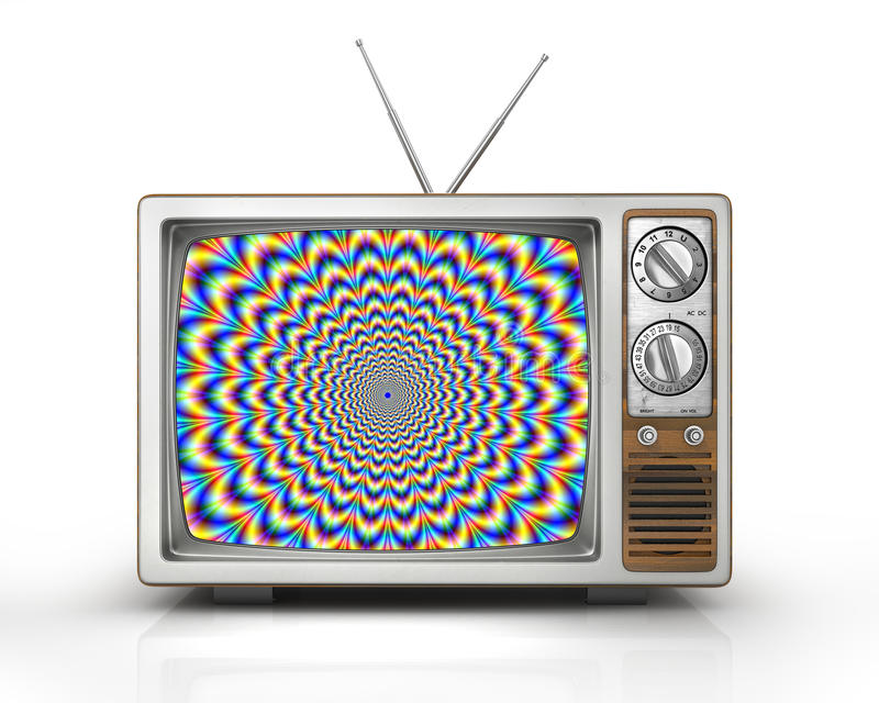 Television as influential mass media. Hypnotic spiral on the screen. Metaphor of mind control, propaganda, brainwashing and manipulation caused by watching TV vector illustration