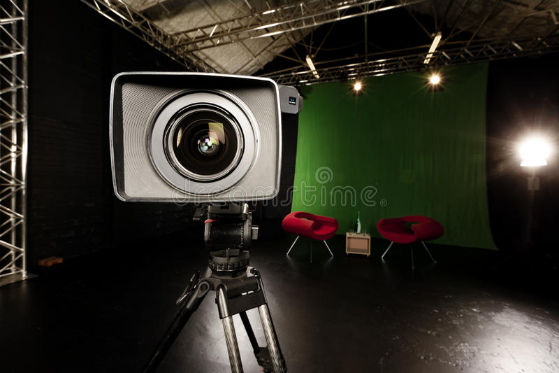 Download Television Camera Lens In Green Screen Studio Royalty Free Stock Photography - Image: 29441427