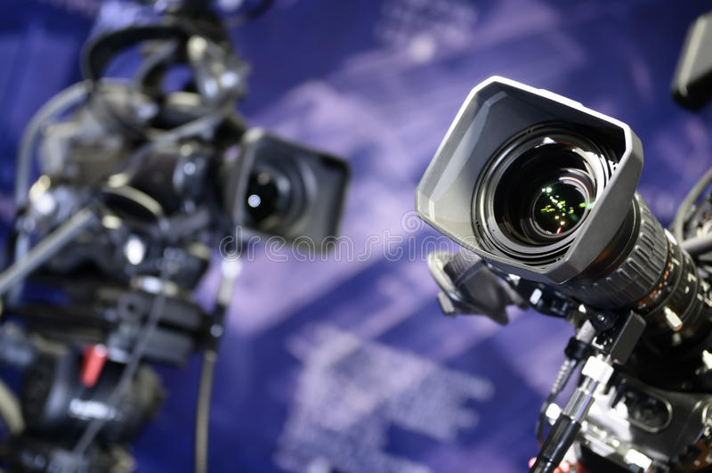 Download Television cameras. stock image. Image of film, image - 12027371
