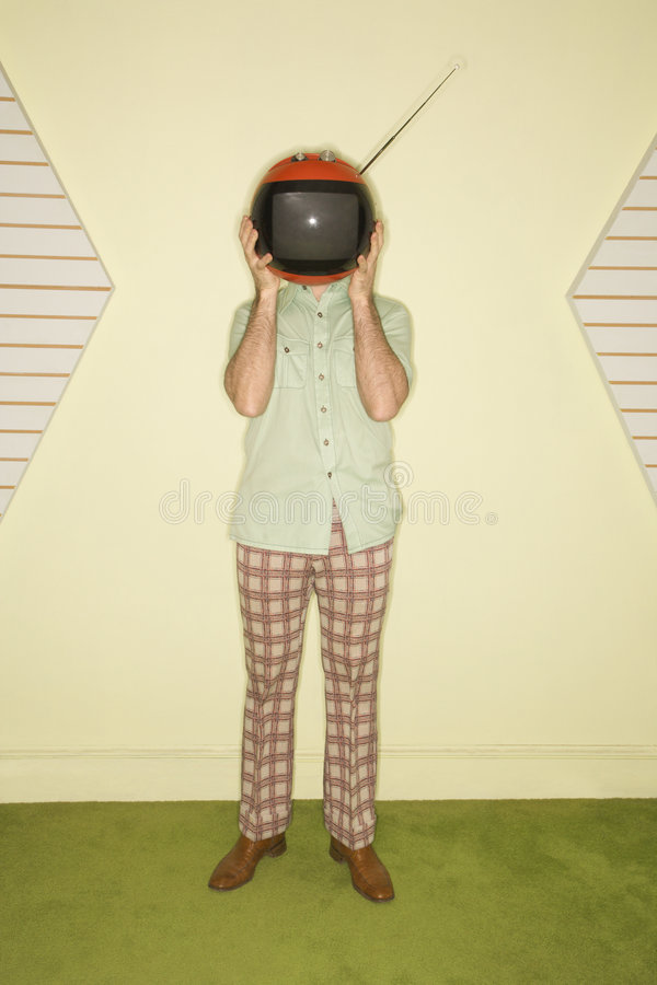 Download Television covering face stock image. Image of seventies - 2431369