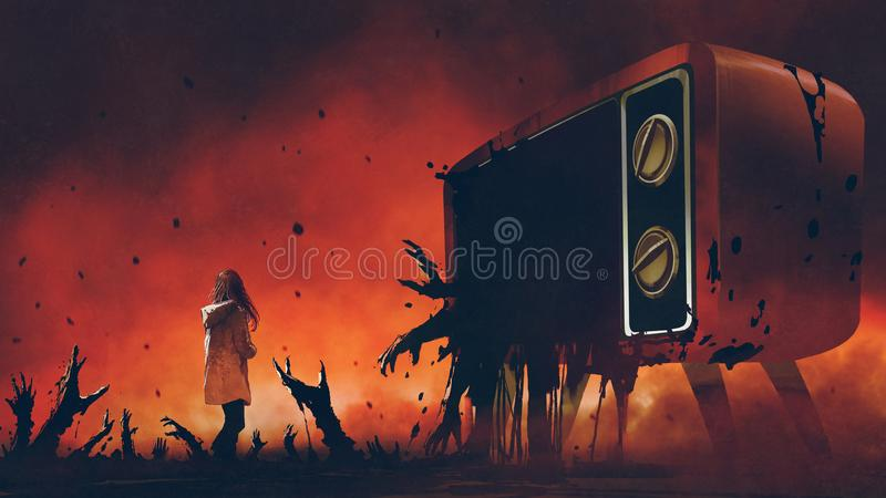The television with evil hands. Young woman standing among evil hands that comes out of the giant television, digital art style, illustration painting stock illustration