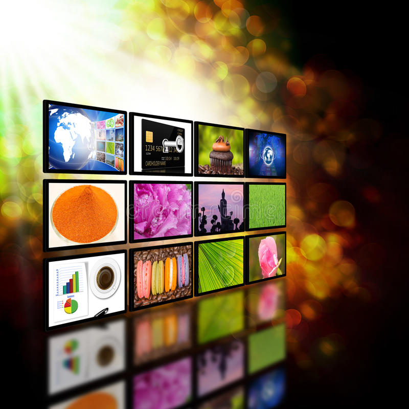 Television with globe internet production technology concept royalty free illustration