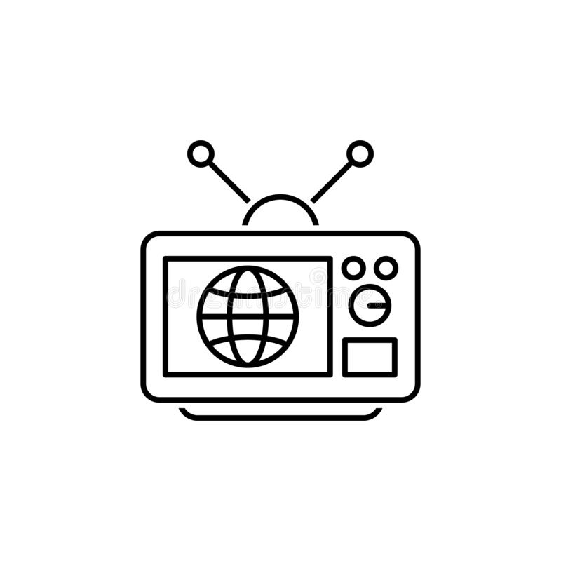 Television icon. Element of news thin line icon. On white background royalty free illustration