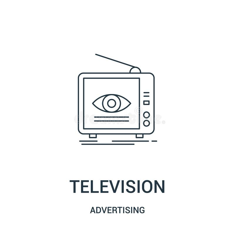 television icon vector from advertising collection. Thin line television outline icon vector illustration. Linear symbol for use royalty free illustration