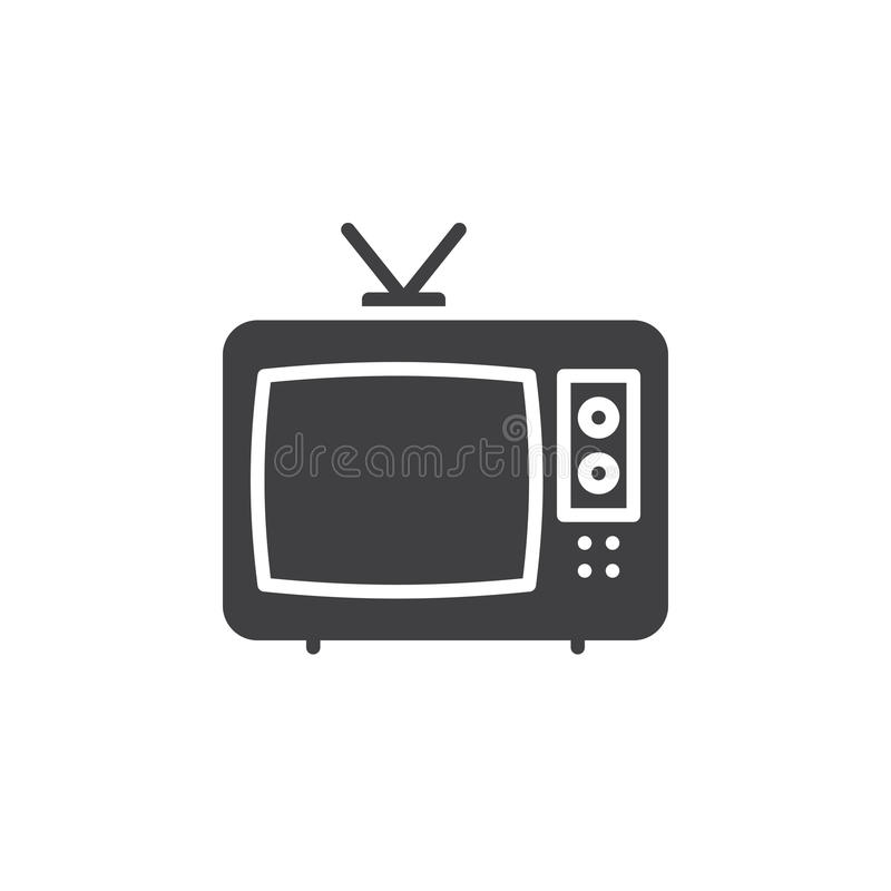 Television icon vector, filled flat sign, solid pictogram isolated on white. vector illustration