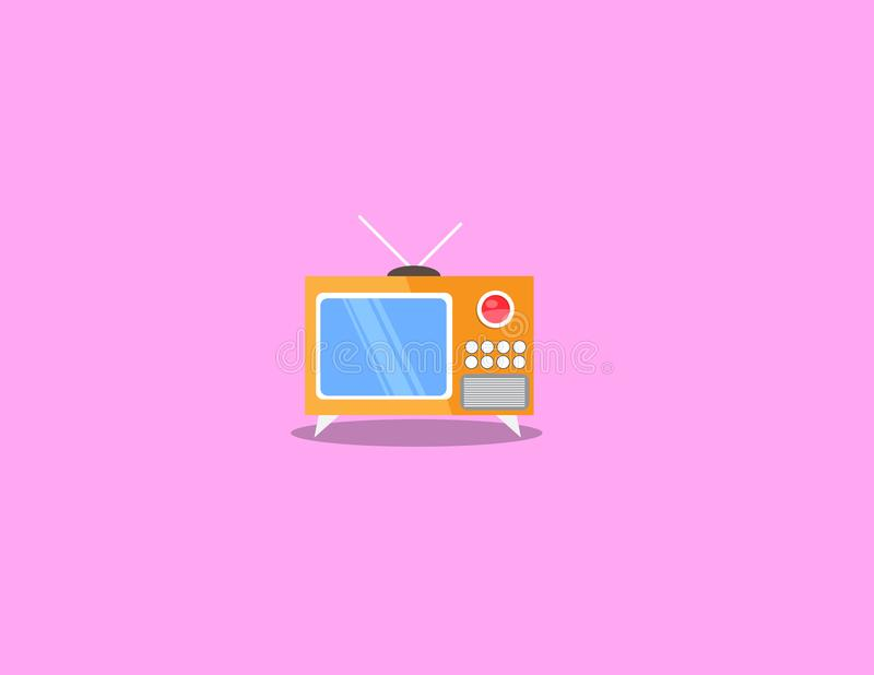 Television illustration in flat style stock photos