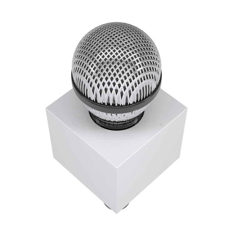 Television microphone with blank advertising cube vector illustration