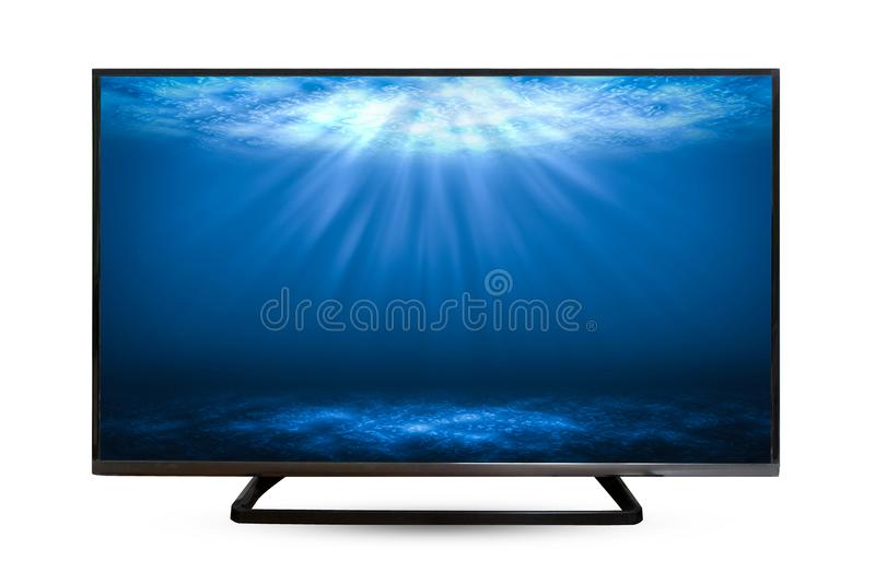 Television monitor water reflection isolated on white background royalty free stock photos