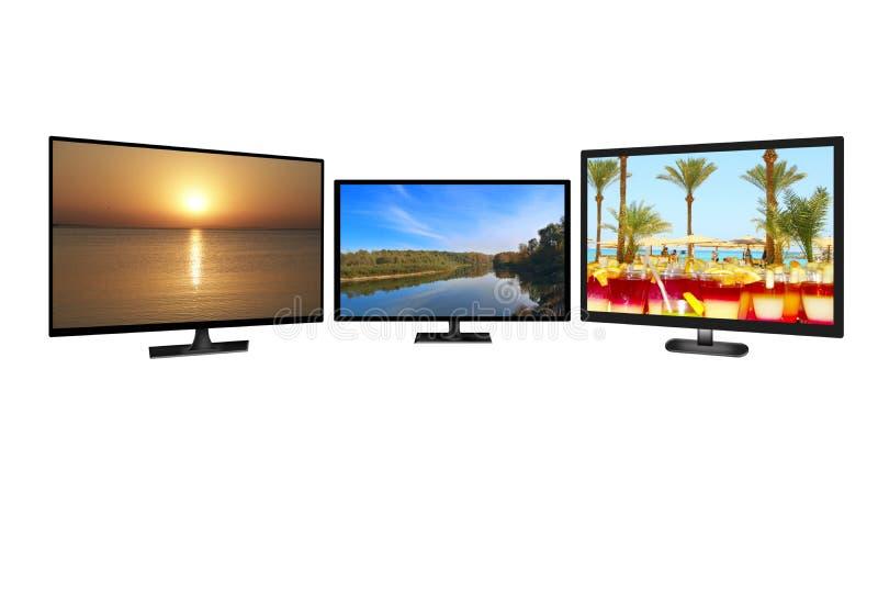 Television monitors isolated on white background. Full HD TV. Modern tv set royalty free illustration