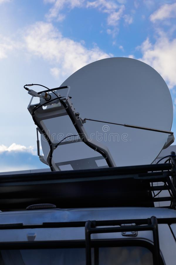 Television news van with a satellite dish.  royalty free stock photo