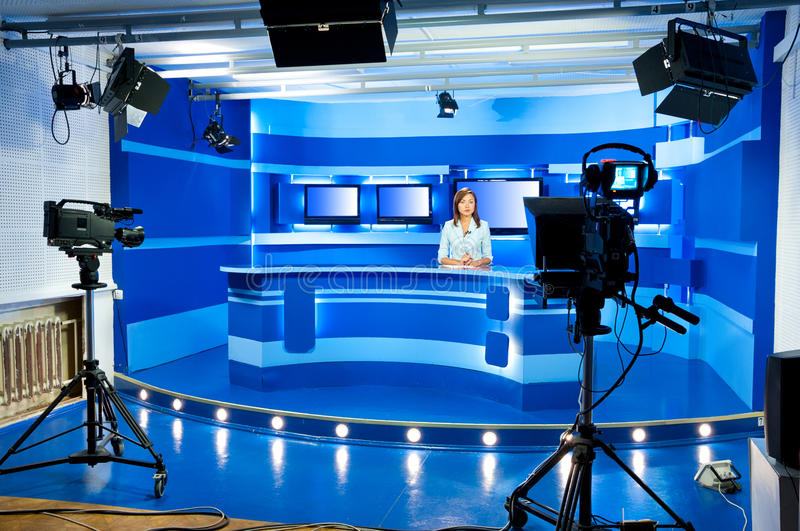 Television newscaster at TV studio royalty free stock photos