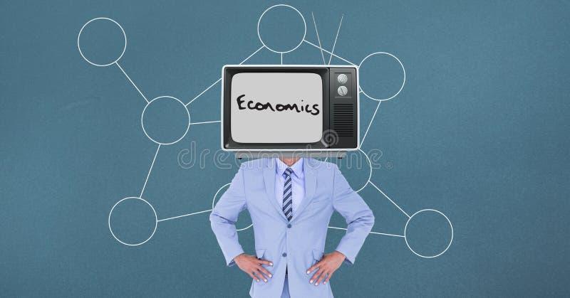 Television på huvudet för affärsman` s vektor illustrationer