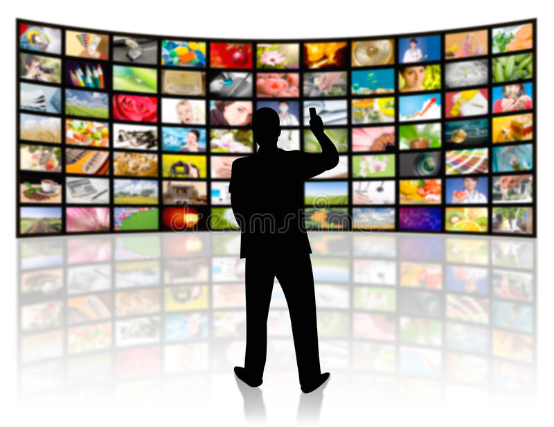 Television production concept. TV movie panels stock illustration