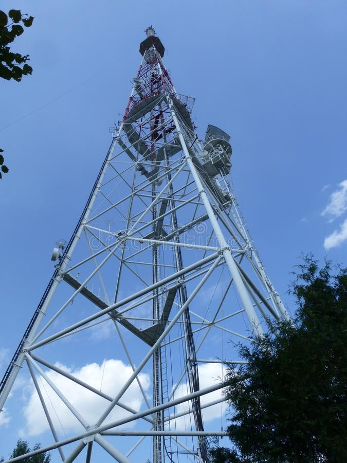 Television radio station in Lviv. TV tower in the High Castle Park in Lviv. Western Ukraine stock images